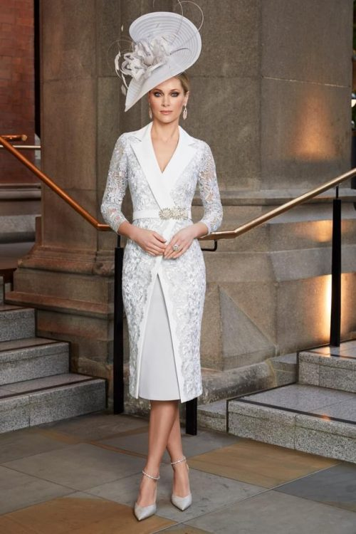 Veni Infantino dress silver a ivory with lace coatveffect