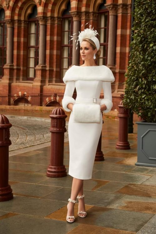 Veni Infantino dress in ivory with faux fur trim 991810