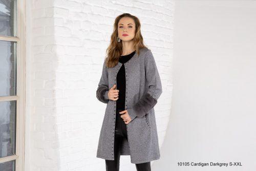 Passioni grey knit Coatigan with faux fur trim on sleeve 10105