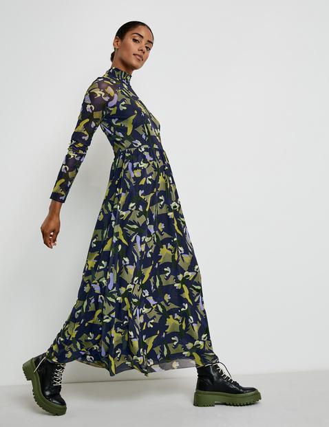 Taifun dark lake patterned mesh dress